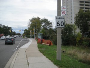 Victoria Park Rd, Toronto with posted 60kmh speed limit in residential area.