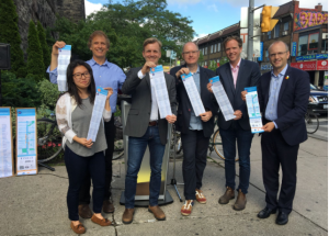 L to R: Rachel Lee (Bloor Superfresh), Albert Koehl, Councillor Joe Cressy, Ron Koperdraad (Bloor Hot Docs), Jared Kolb (Cycle Toronto) and Coun. Mike Layton [Photo: Jun Nogami]